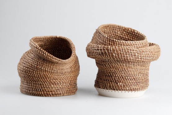 Caruma Vase Collection Combining Ceramics And Basket Weaving