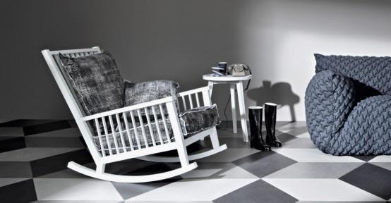 Casual Scandinavian Inspired Rocking Chair By Gervasoni