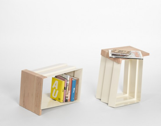 Creative Chair That Can Become a Side Table With Book Storage Space