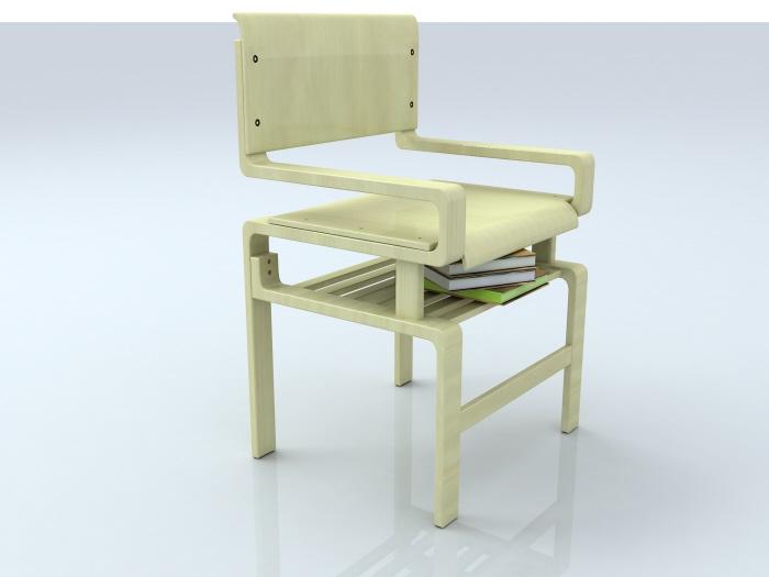 Smart Chair With Bookshelf Below Its Seat