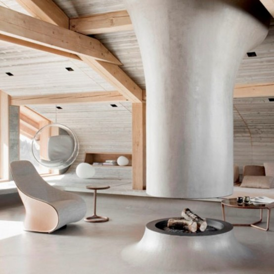 Chalet In The Alps With Unusual Geometric Lines