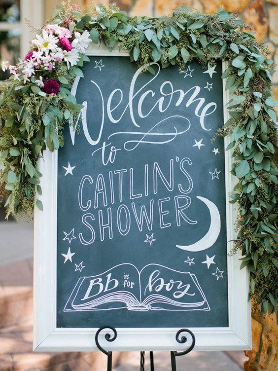 chalkboard sign for a modern baby shower