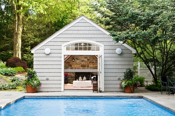 Midcentury Modern Pool House with Touches of Exotica