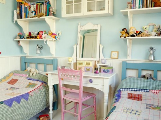 Charming country style small room for two girls. Lovely makeup table and a pink chair are a perfect  combo.