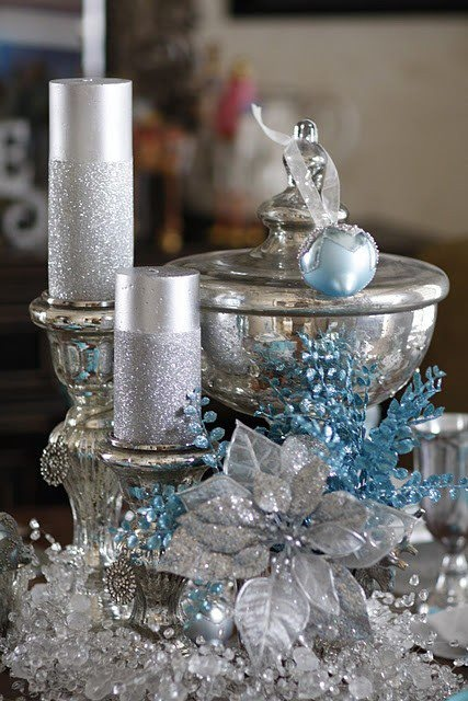 Charming Silver And Blue Christmas Decor Ideas