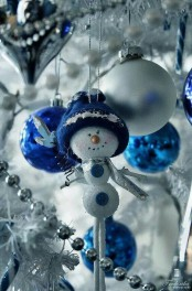 electric blue and silver Christmas ornaments and beads will make your Christmas tree look amazing