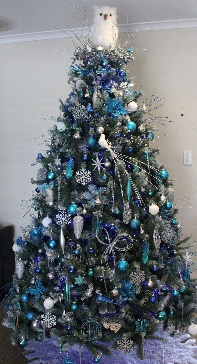 White christmas tree with blue and green decorations - photo#4
