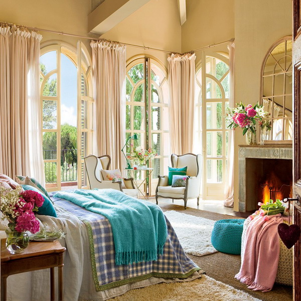 Charming Vintage Bedroom Design With Turqouise And Pink Accents