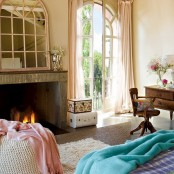 Charming Vintage Bedroom With Turquoise And Pink Accents