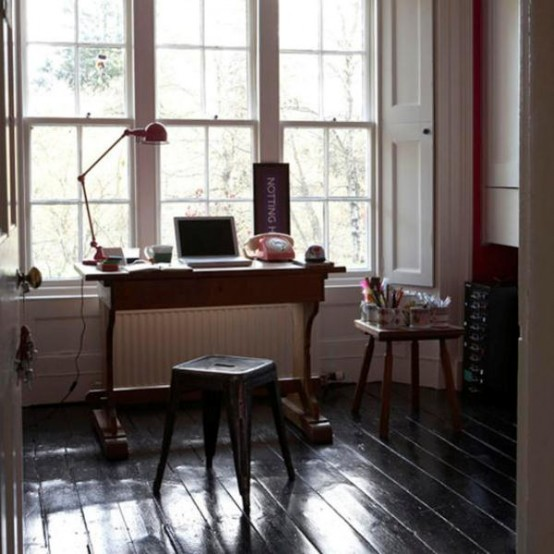 Home Office Artists Designers Studio Detail Vintage Desk Table Laptop Computer Telephone Stool Side Table Pots And Mugs Of Drawing Pens Sash Windows Original Period Features Dark Black Floorboards Real Home L Etc 01/2008 Not Used