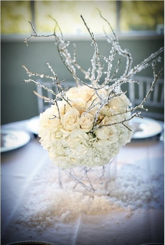 75 charming winter centerpieces digsdigs for Winter themed wedding centerpieces