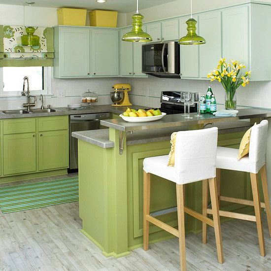 Cheerful summer interiors 50 green and yellow kitchen Modern green kitchen ideas