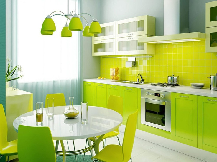 a neon kitchen with neon green cabinets, a neon yellow backsplash and a matching dining zone and a chandelier