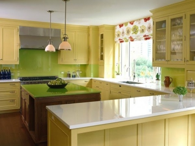 Cheerful summer interiors 50 green and yellow kitchen for Modern green kitchen designs