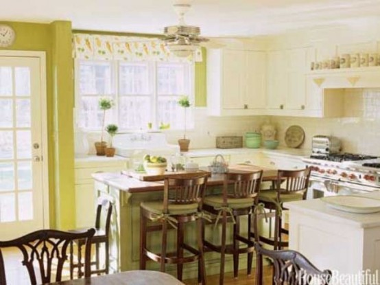 Green Kitchen Design Ideas ~ Cheerful summer interiors green and yellow kitchen