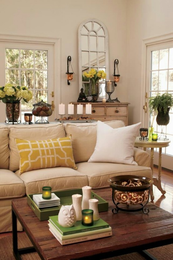 Living Room Design Green: 49 Cheerful Summer Living Room Décor Ideas