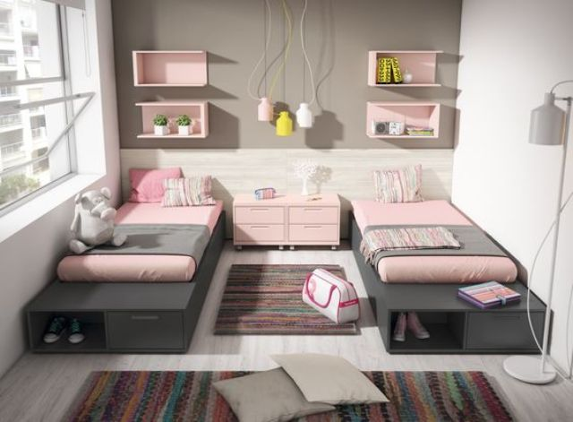 22 chic and inviting shared teen girl rooms ideas digsdigs - Habitacion juvenil doble ...