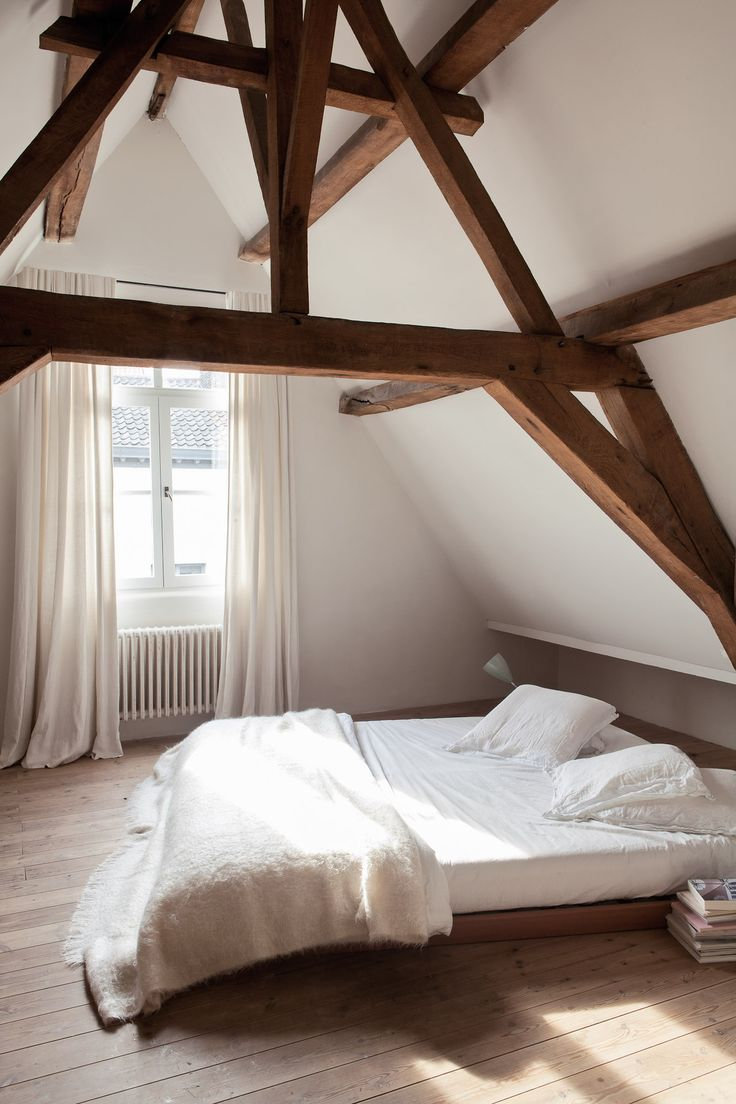 Picture Of chic bedroom designs with exposed wooden beams  15