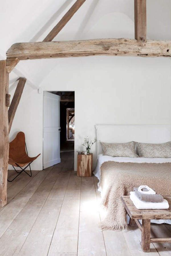 Picture Of chic bedroom designs with exposed wooden beams  17
