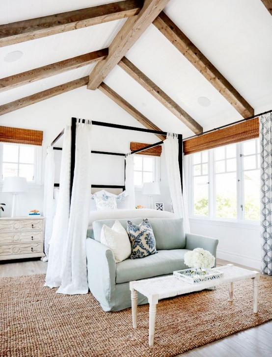 35 chic bedroom designs with exposed wooden beams digsdigs for House plans with exposed beams