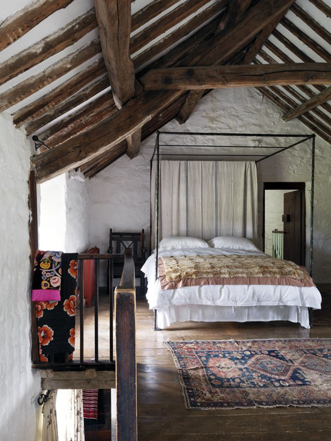 Picture Of chic bedroom designs with exposed wooden beams  27