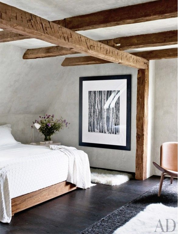 Picture Of chic bedroom designs with exposed wooden beams  3