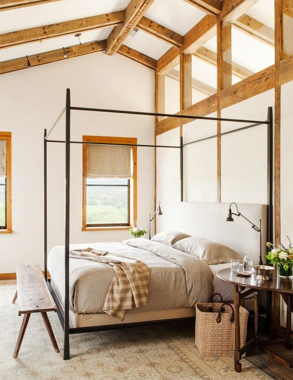 Picture Of chic bedroom designs with exposed wooden beams  30