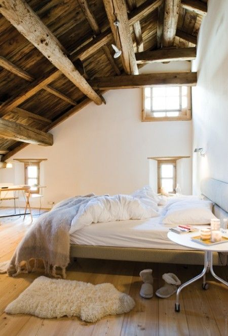 Picture Of chic bedroom designs with exposed wooden beams  33