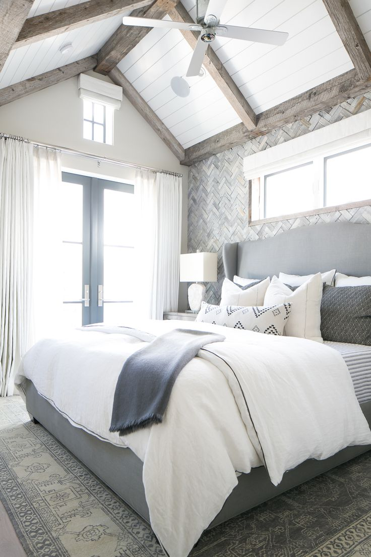 Picture Of chic bedroom designs with exposed wooden beams  4