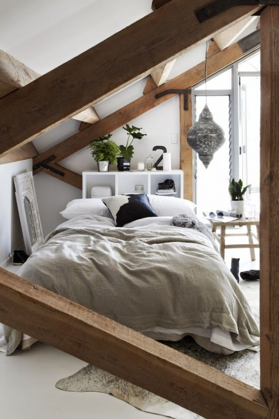 Chic Bedroom Designs With Exposed Wooden Beams