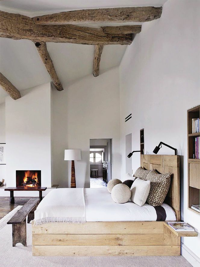 Picture Of chic bedroom designs with exposed wooden beams  7