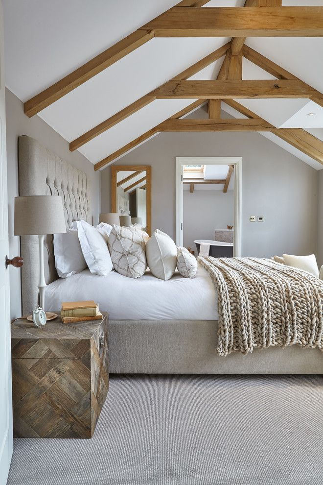 Picture Of chic bedroom designs with exposed wooden beams  8