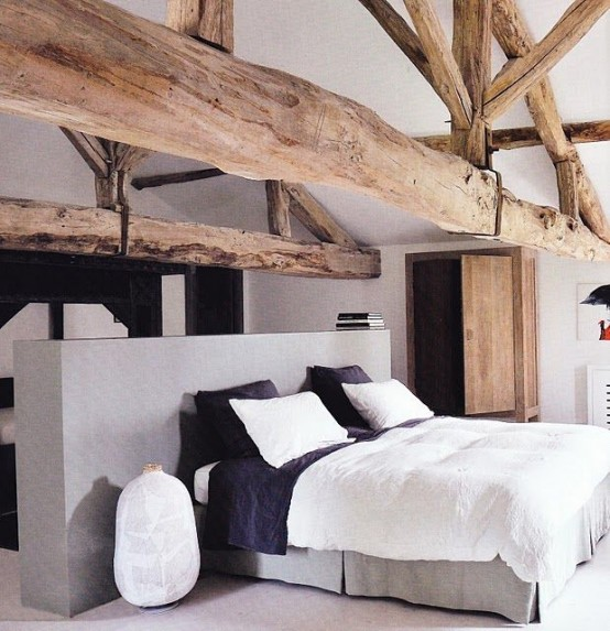 35 Modern Interior Design Ideas Incorporating Columns Into: 35 Chic Bedroom Designs With Exposed Wooden Beams