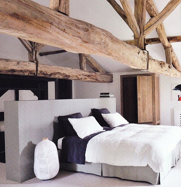 Picture Of chic bedroom designs with exposed wooden beams  9