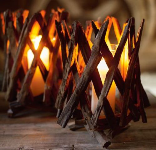 fall Nordic candleholders covered with branches look natural and simple, and they are easy to DIY