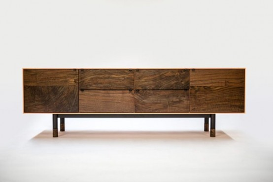 Chic Solid Walnut Coastal Credenza By Jeff Martin