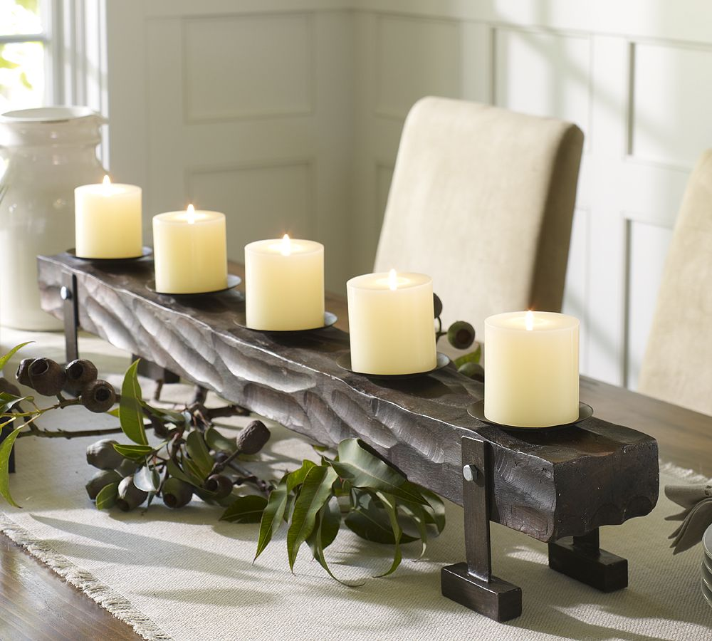 Holiday decorating 2010 by pottery barn digsdigs for Centerpieces for wood dining table