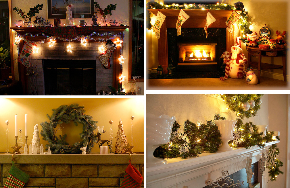 33 mantel christmas decorations ideas digsdigs for How to decorate a fireplace for christmas