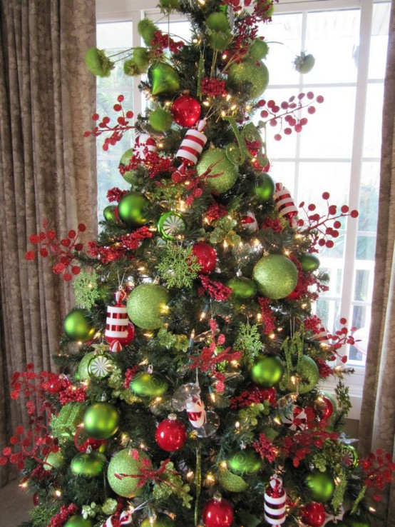 christmas home decor ideas in traditional red and green lime green and red christmas tree - Lime Green Christmas Tree Decorations