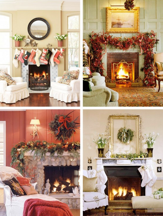 christmas white mantel decorations