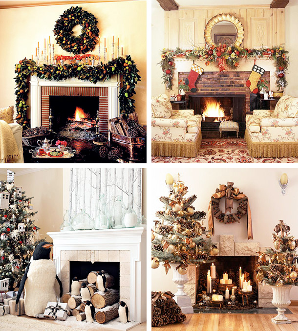 Fireplace Hearth Ideas: 33 Mantel Christmas Decorations Ideas