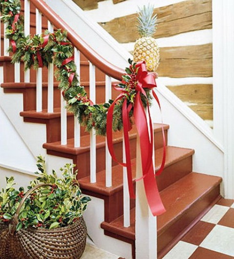 Christmas Stairs Decoration Ideas. Oversized ribbon bowls looks gorgeous on  any staircase.