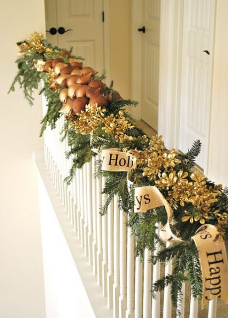 christmas stairs decoration ideas shiny golden dcor is all you need to give a majestic look to your house - Christmas Decorations For Stairs Banisters