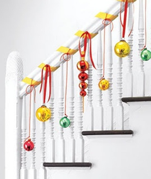 christmas stairs decoration ideas simple splashes of color looks amazing on all white staircases - How To Decorate A Staircase For Christmas With Deco Mesh