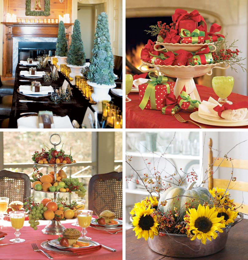50 great easy christmas centerpiece ideas digsdigs for Dining table decoration ideas home