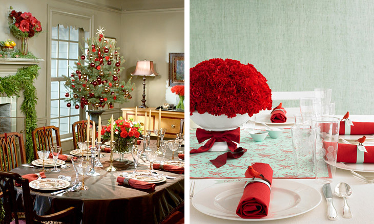 25 christmas table decorating ideas digsdigs for Ideas to decorate dining room table for christmas