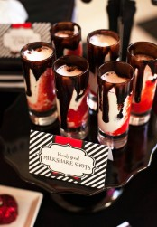 red, black and white milkshake shots with chocolate are delicious for Halloween