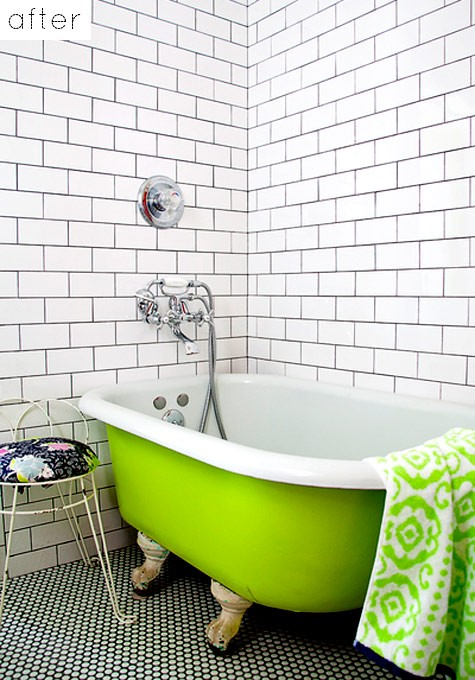 Clean White Bathroom With Limegreen Bathtub