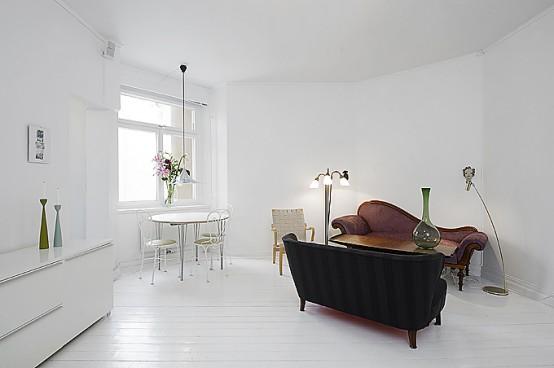 Clean White Small Apartment Interior Design