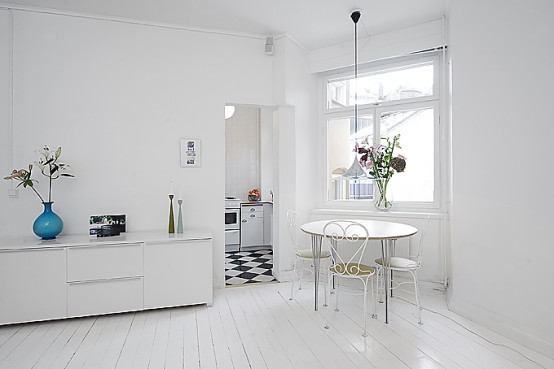 Clean White Small Apartment Interior Design with Minimalism in ...